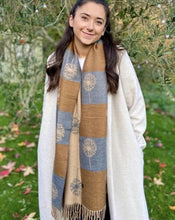 Load image into Gallery viewer, Winter Dandelions Scarf - Camel, Caramel And Pale Grey - LavenderLime