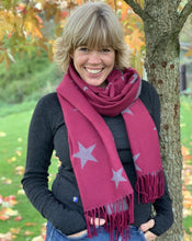 Load image into Gallery viewer, Winter Stars Scarf - Burgundy/Grey - LavenderLime
