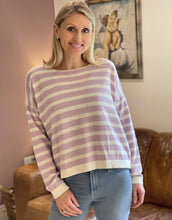 Load image into Gallery viewer, Wool/Cashmere Mix Jumper - Cream And Lilac Stripe - LavenderLime