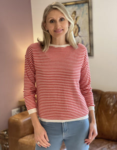 Wool/Cashmere Mix Jumper - Cream And Red Stripe - LavenderLime
