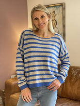 Load image into Gallery viewer, Wool/Cashmere Mix Jumper -Pale Grey And Blue Stripe - LavenderLime