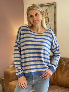Wool/Cashmere Mix Jumper -Pale Grey And Blue Stripe - LavenderLime