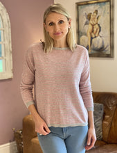 Load image into Gallery viewer, Wool/Cashmere Mix Jumper - Pale Pink And Grey Stripe - LavenderLime