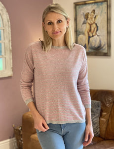 Wool/Cashmere Mix Jumper - Pale Pink And Grey Stripe - LavenderLime