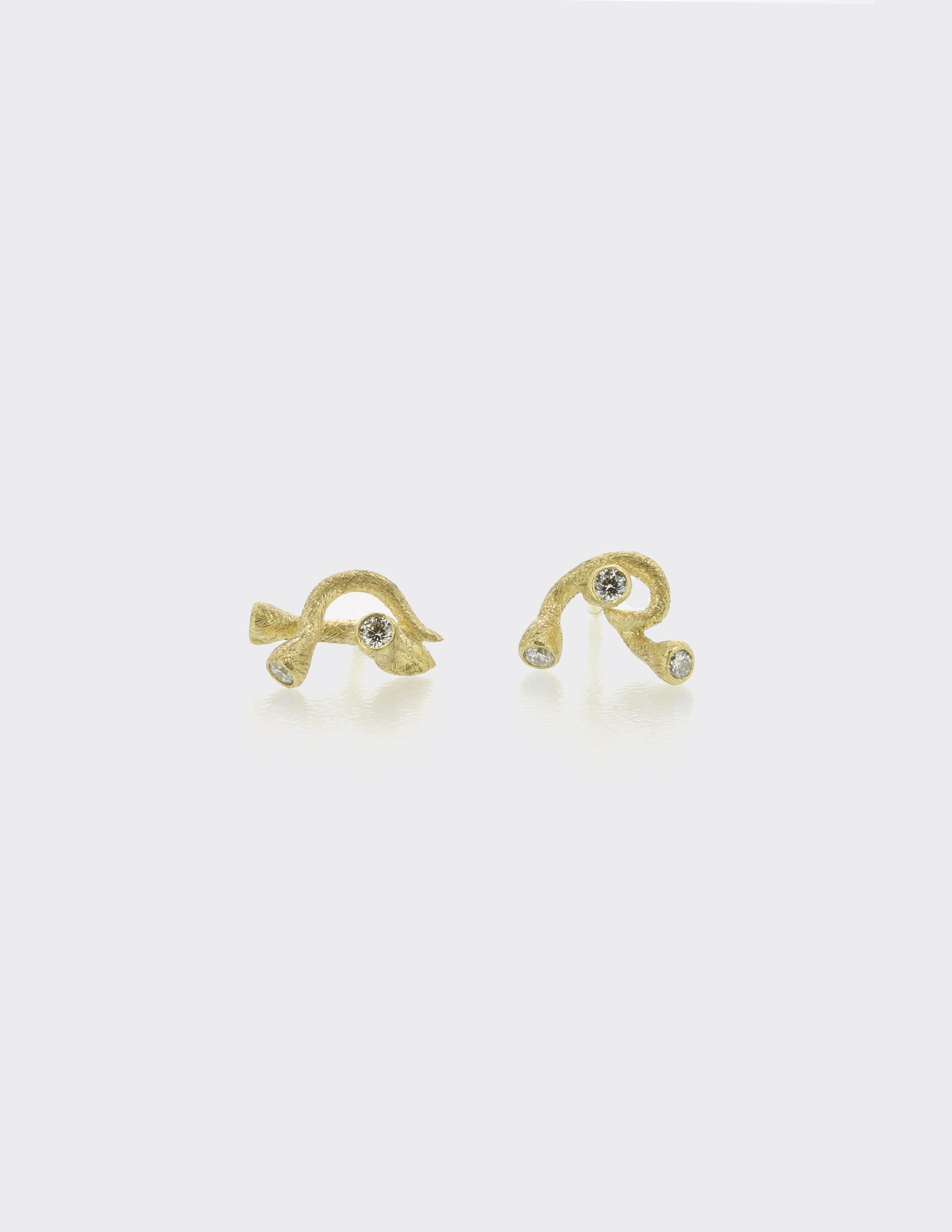 Branch ear studs with diamonds
