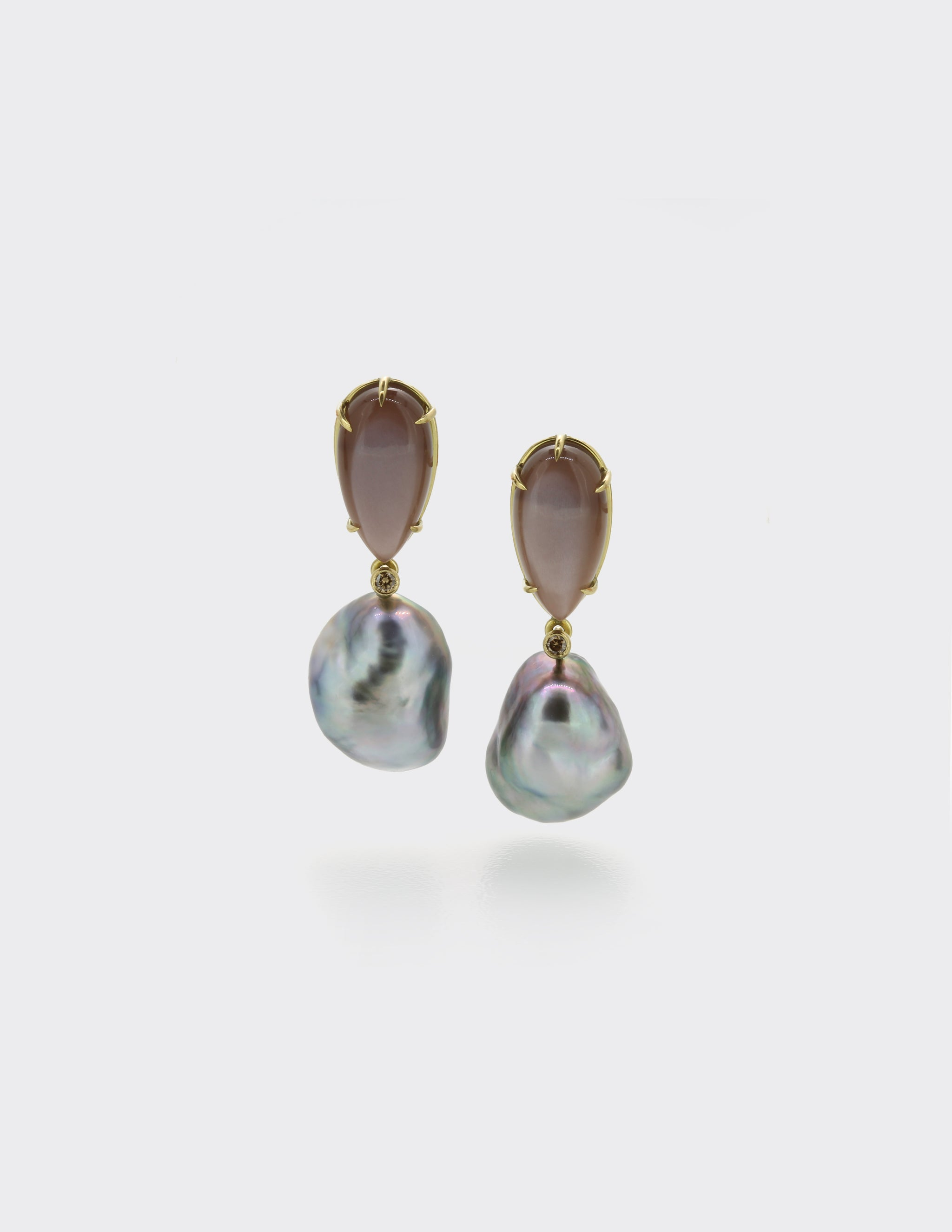 Moonstone and keshi pearl ear drops