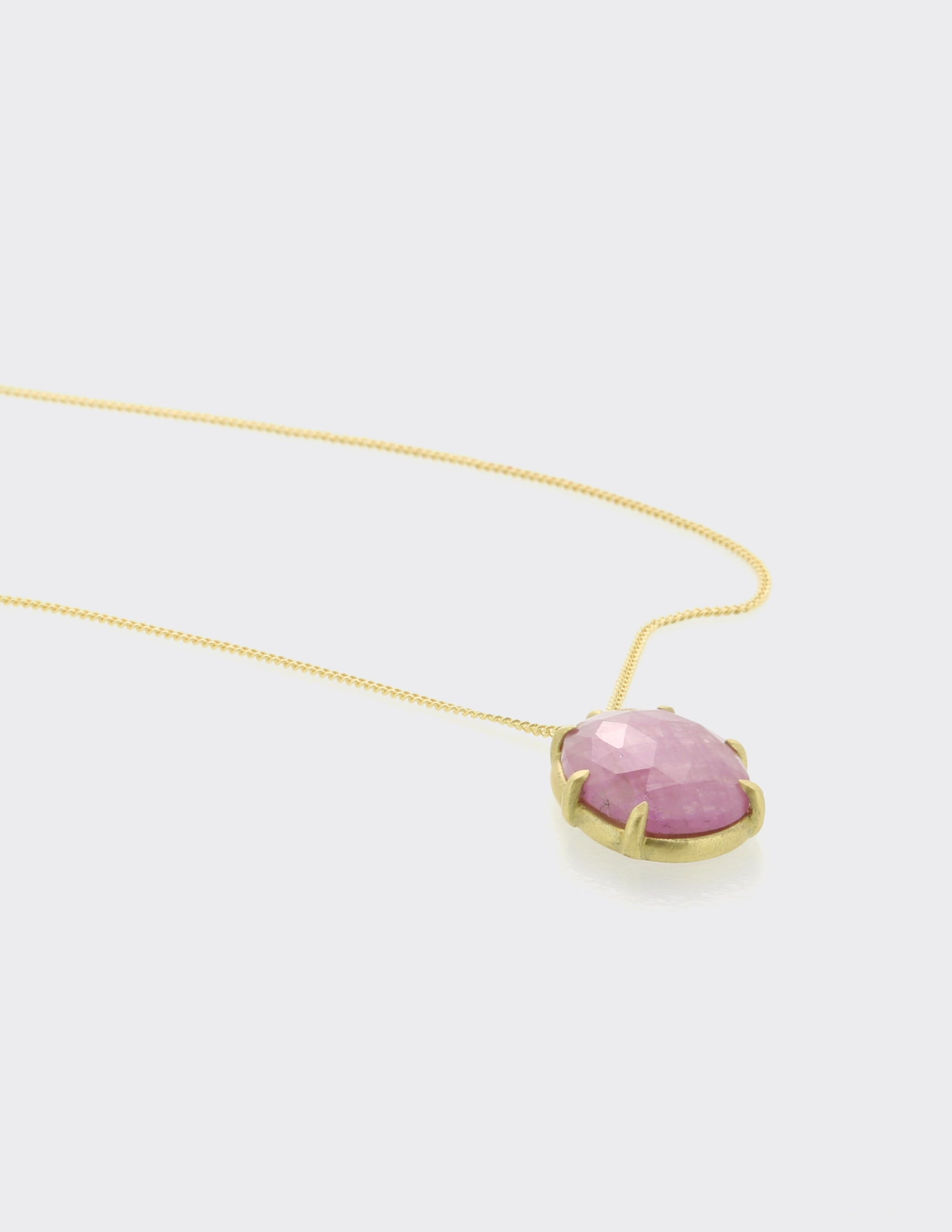 Pink sapphire pendant on chain