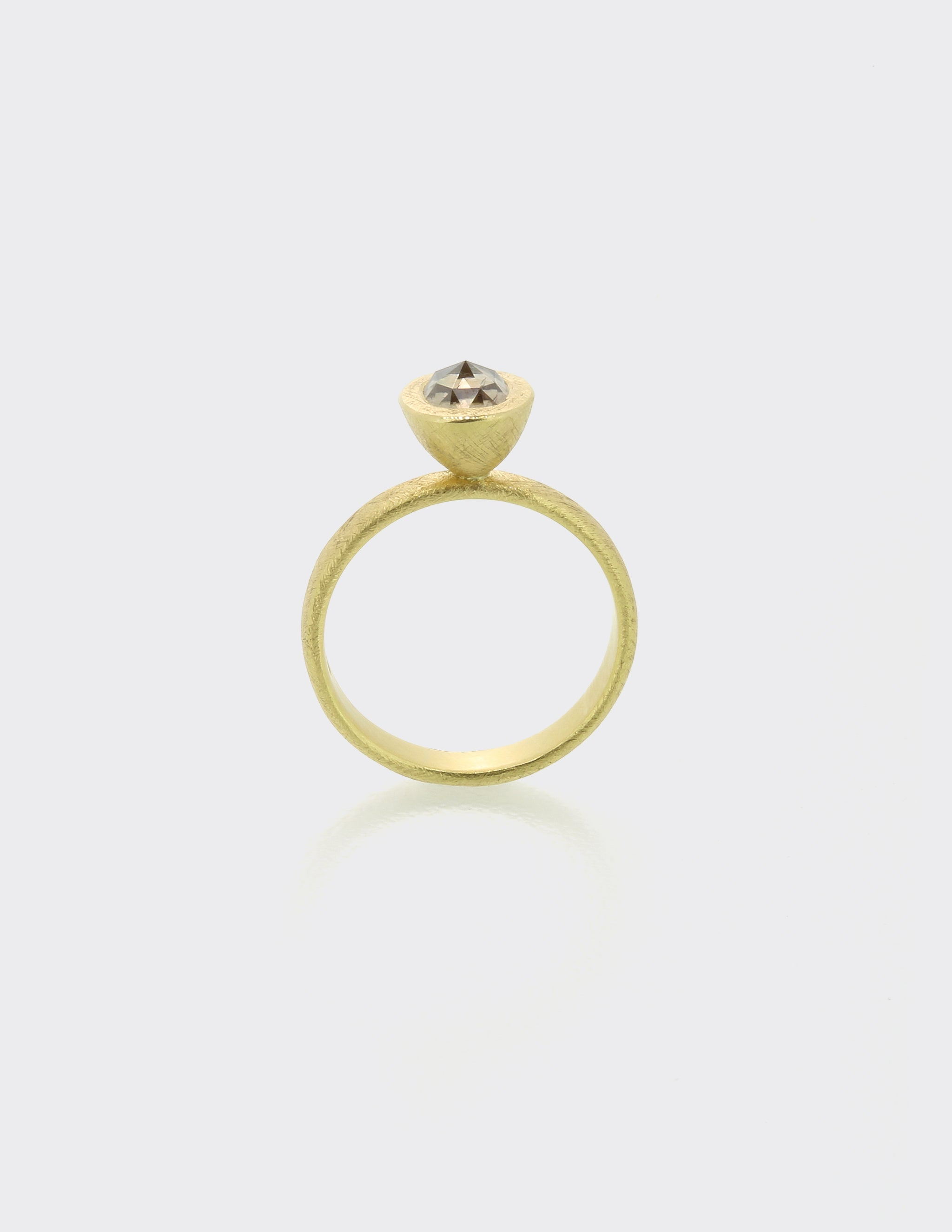 Cone ring with cognac rosecut diamond
