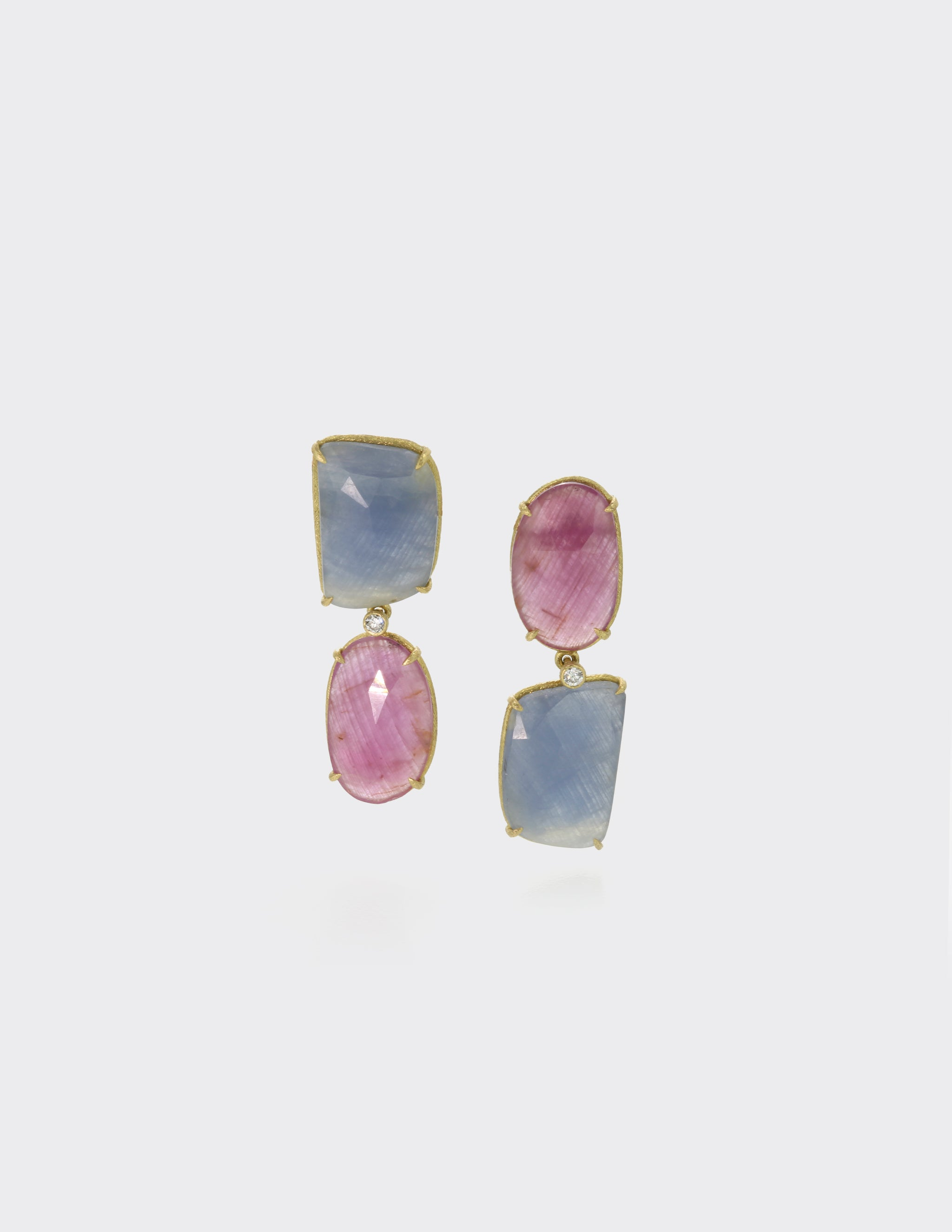 Upside down ear drops, blue and pink sapphires