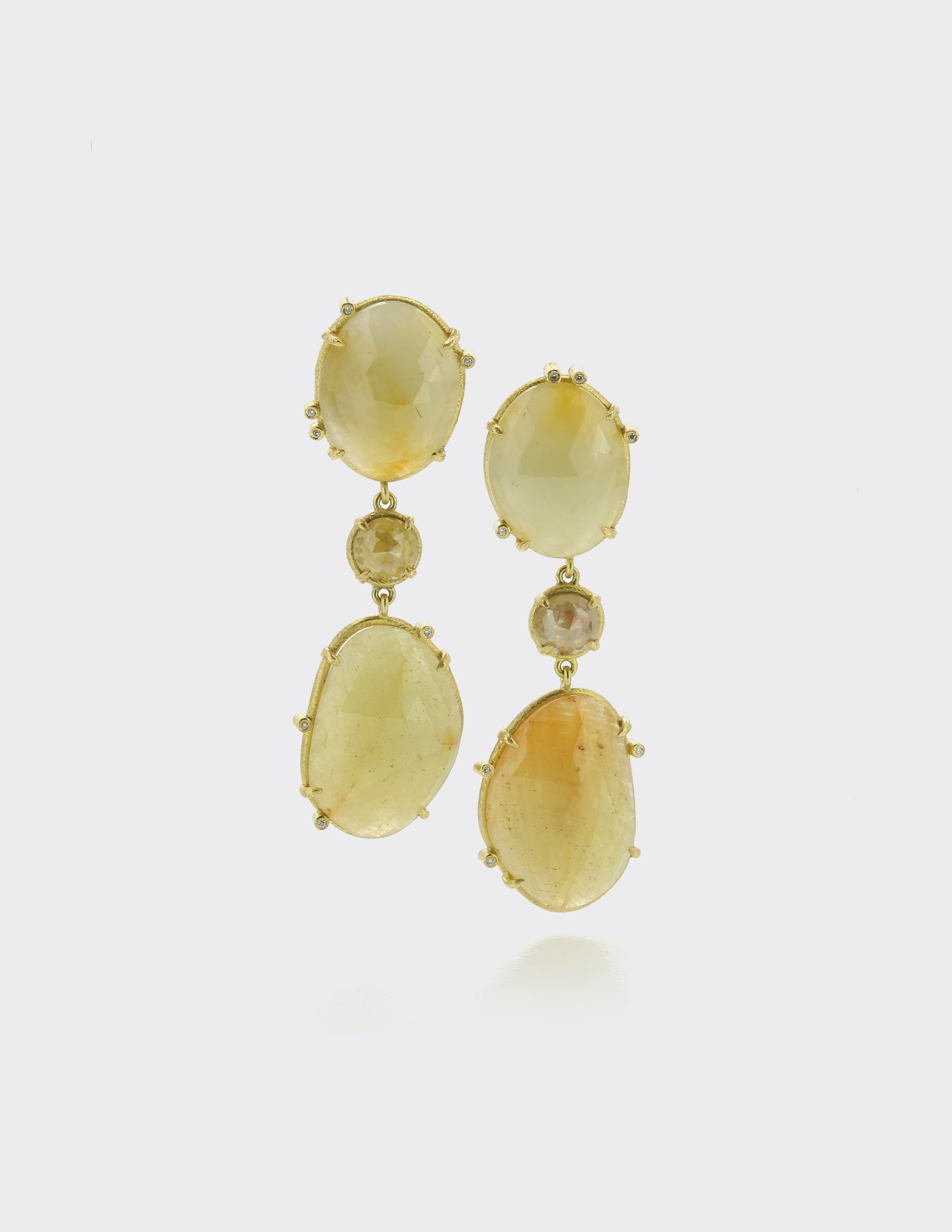 Yellow sapphire and diamond earrings
