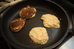 Keto Pancakes with Coconut Flour browning