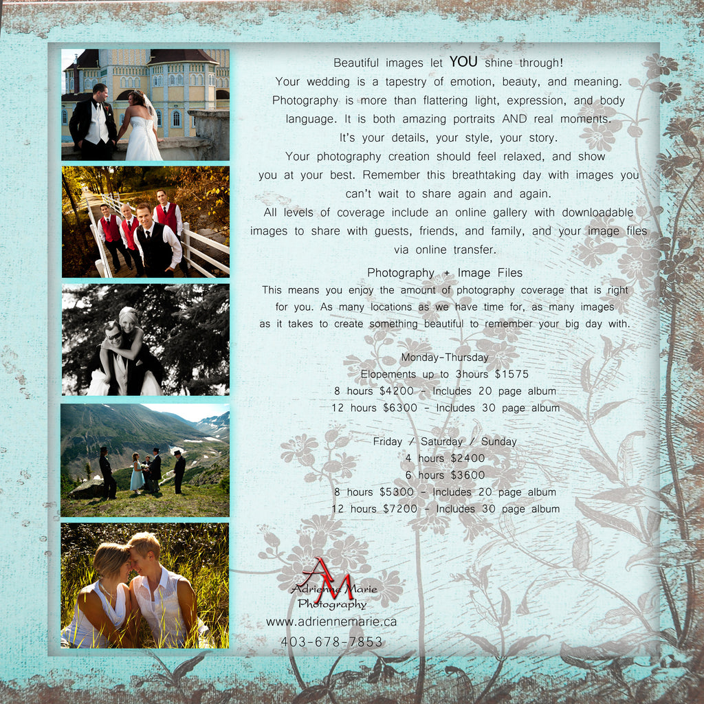 Adrienne Marie Wedding Rates