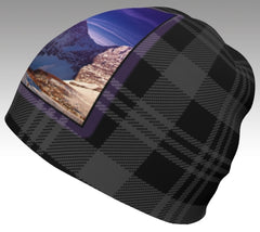 Rockwall on charcoal plaid women's beanie