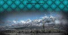 Breathing Space Beanie: Snowy Mountians, Teal Design