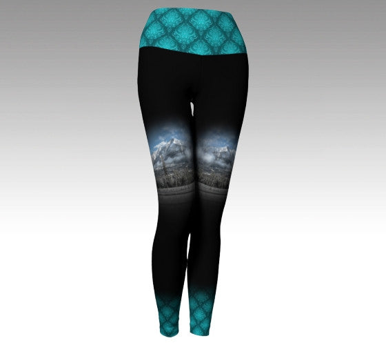 Yoga Legging with Canmore Mountain Photography - Teal details