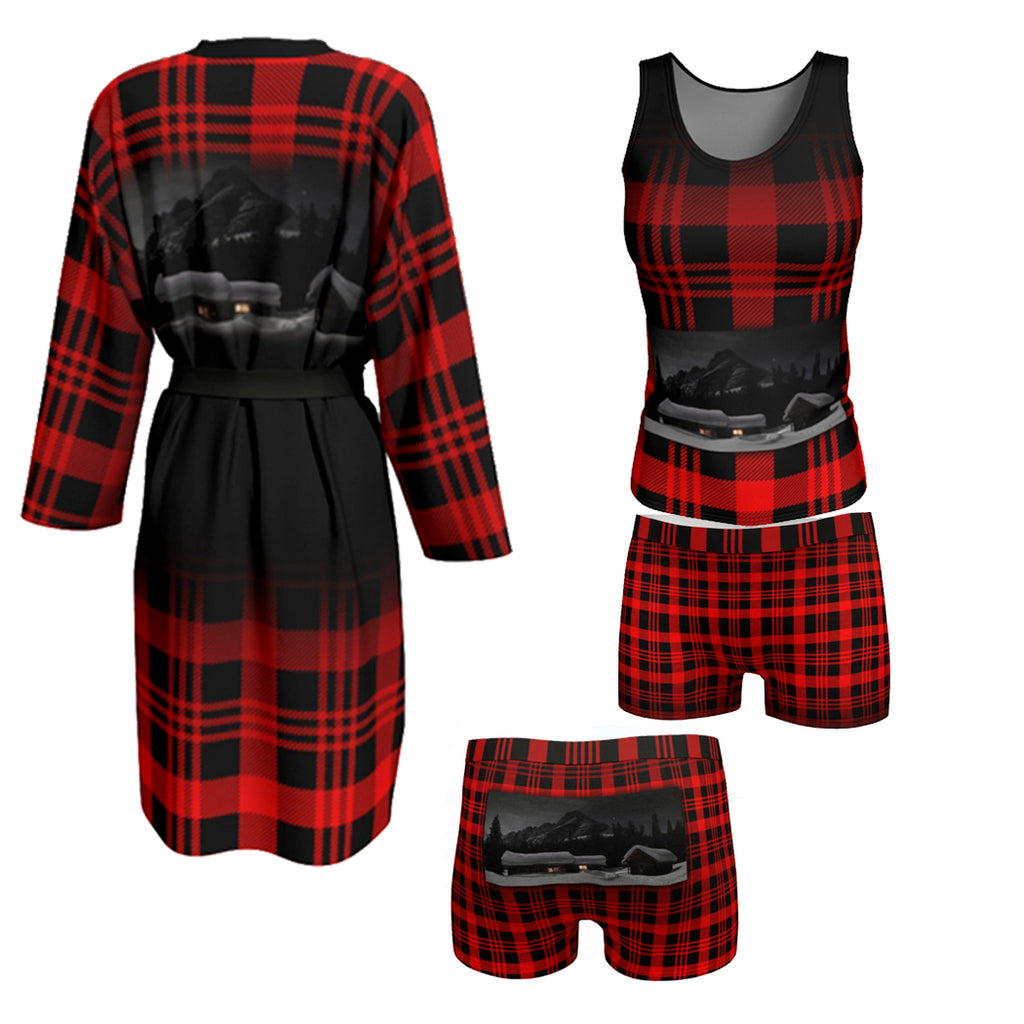 Sleep Set Red & Black plaid with Red and black plaid butter soft tank top with Elizabeth Parker Hut under a full moon