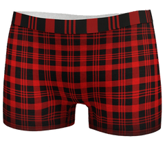Red and black plaid BoyShort Panty with Elizabeth Parker Hut under a full moon