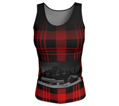 Red and black plaid butter soft tank top with Elizabeth Parker Hut under a full moon
