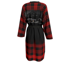 Red and black plaid peignoir with Elizabeth Parker Hut under a full moon
