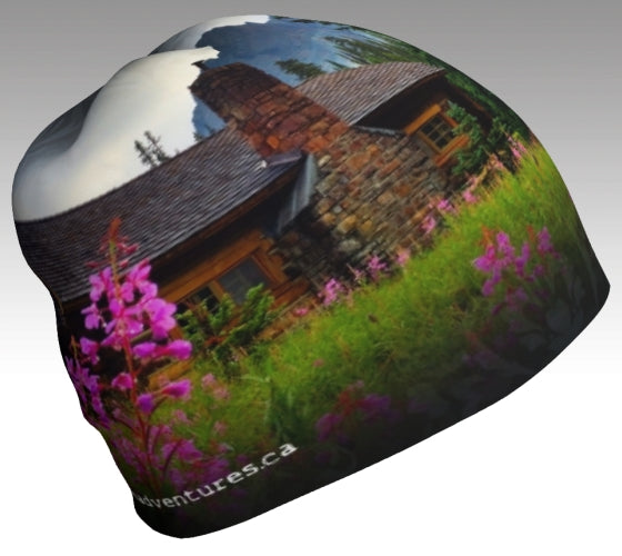 A beanie with Fireweed and the stone chimney at Elizabeth Parker hut in Yoho