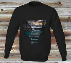 Moraine Lake on stylish black sweat shirt with caption Here Comes Moraine again