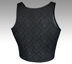 Ornate black design on back of crop top tank