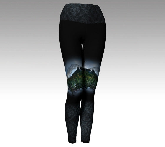 Black Leggings with Mountains and ornate black detail, high yoga waist