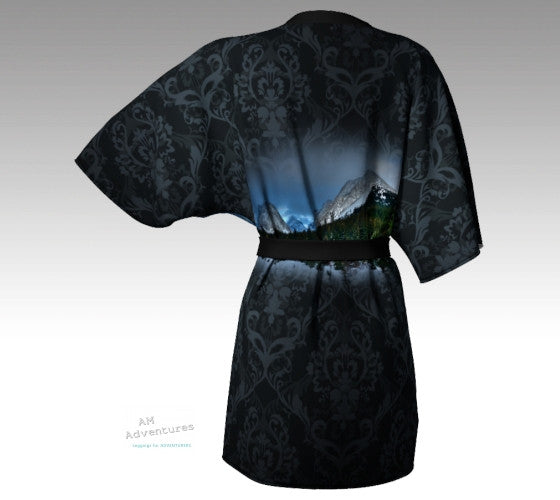 Sexy Black Kimono with fancy design detail and photo of Mt Chester