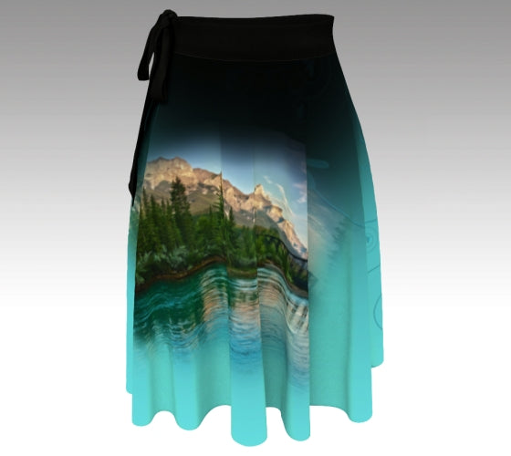 Aqua wrap skirt with photo of Mt Rundle and the Bow River at Canmore