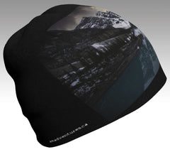 Beanie Hat, unisex: Moraine Lake on stylish black background