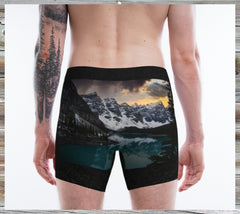 Mens Boxer on black with Moraine Lake on the bum