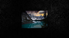 Moraine Lake on stylish black background