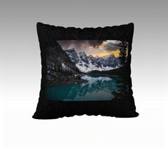 Moraine Lake and beautiful sky pillow cover