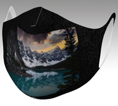 face mask with moraine lake on stylish black background