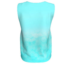 relaxed women's aqua tank with mt rundle at canmore