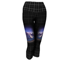 Rockwall on charcoal plaid women's yoga waist capri