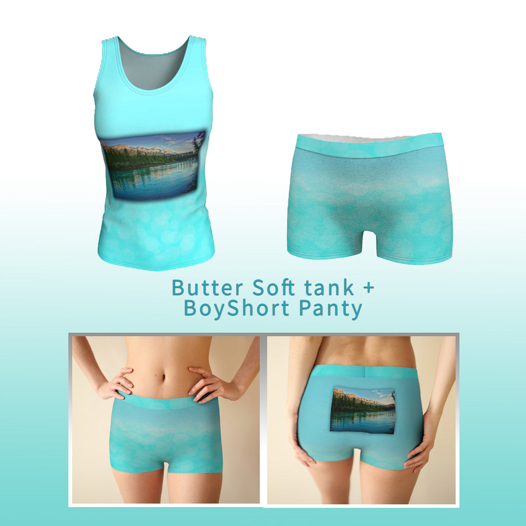 Aqua tank and boyshort panty with mount rundle at canmore photo Sleep set