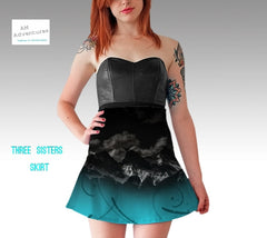 Bright Teal bottom skirt with B&W Three Sisters at night image