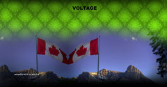 Canadian Flag at the Nordic Ctr Canmore with Ha Ling, and Lime Green design: Voltage