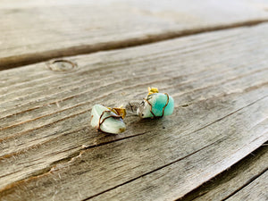 Amazonite Wire-Wrapped Gemstone Earring Studs