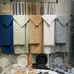 Linen tablecloths and napkins in neutral tones