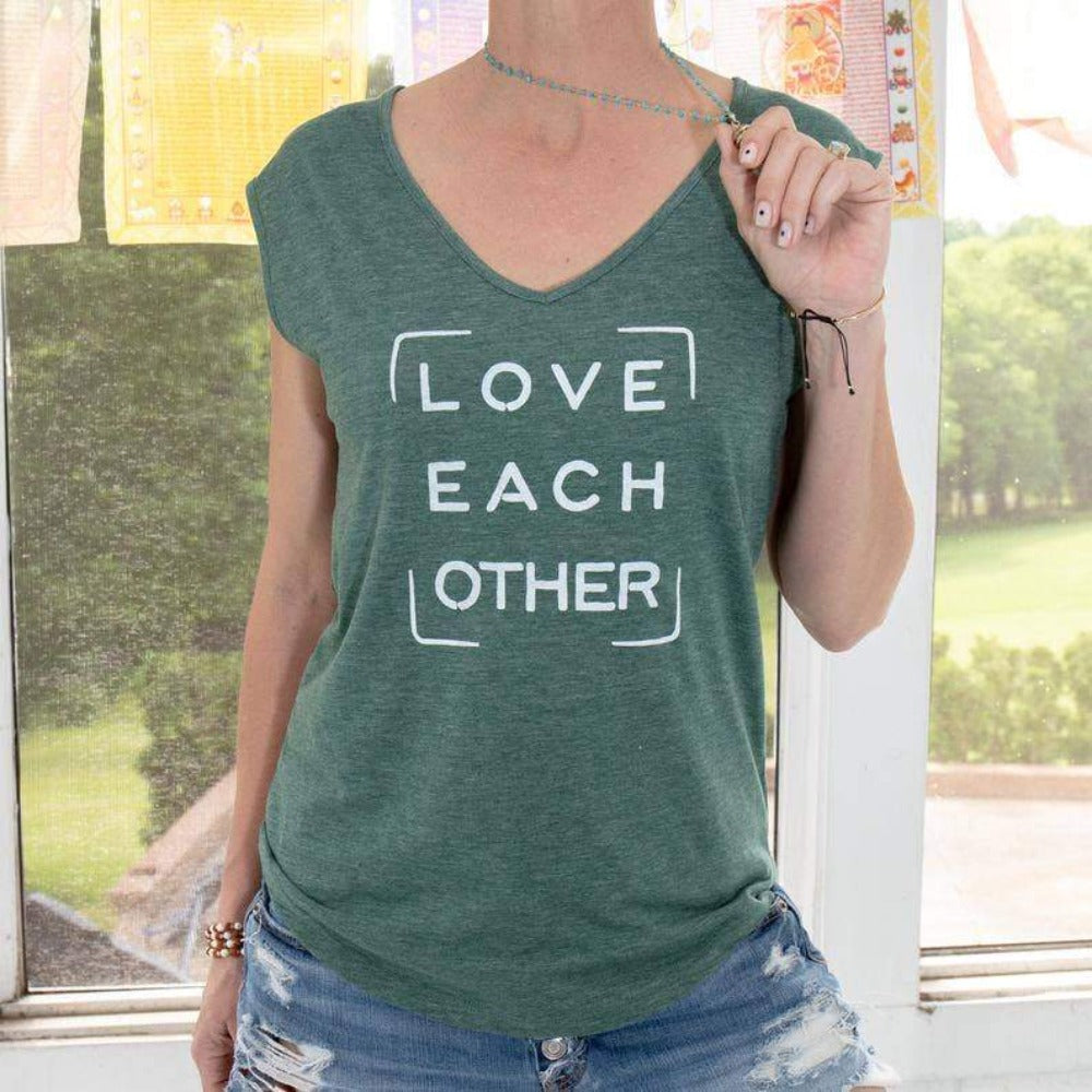 Love Each Other - Jade V Neck Tee - GRACEiousliving.com