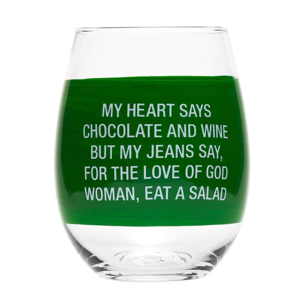 About Face Designs - My Jeans Say Stemless Wine Glass - GRACEiousliving.com