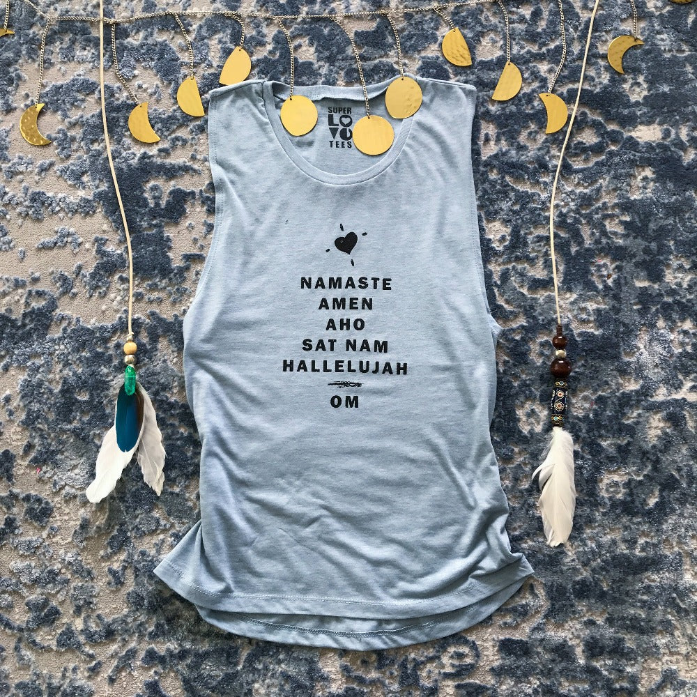 Namaste, Amen....Om - Heather Blue Muscle Tee - GRACEiousliving.com