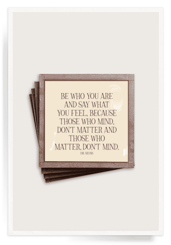 Ben's Garden - Be Who You Are Copper & Glass Coasters, Set of 4 - GRACEiousliving.com