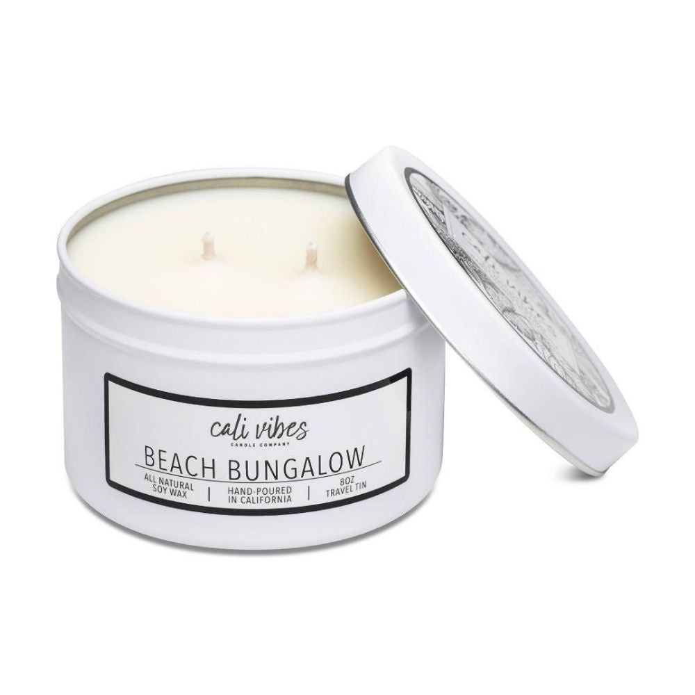 Cali Vibes Candle Company - 8 oz Beach Bungalow - Matte White Travel Tin Double Wick - GRACEiousliving.com