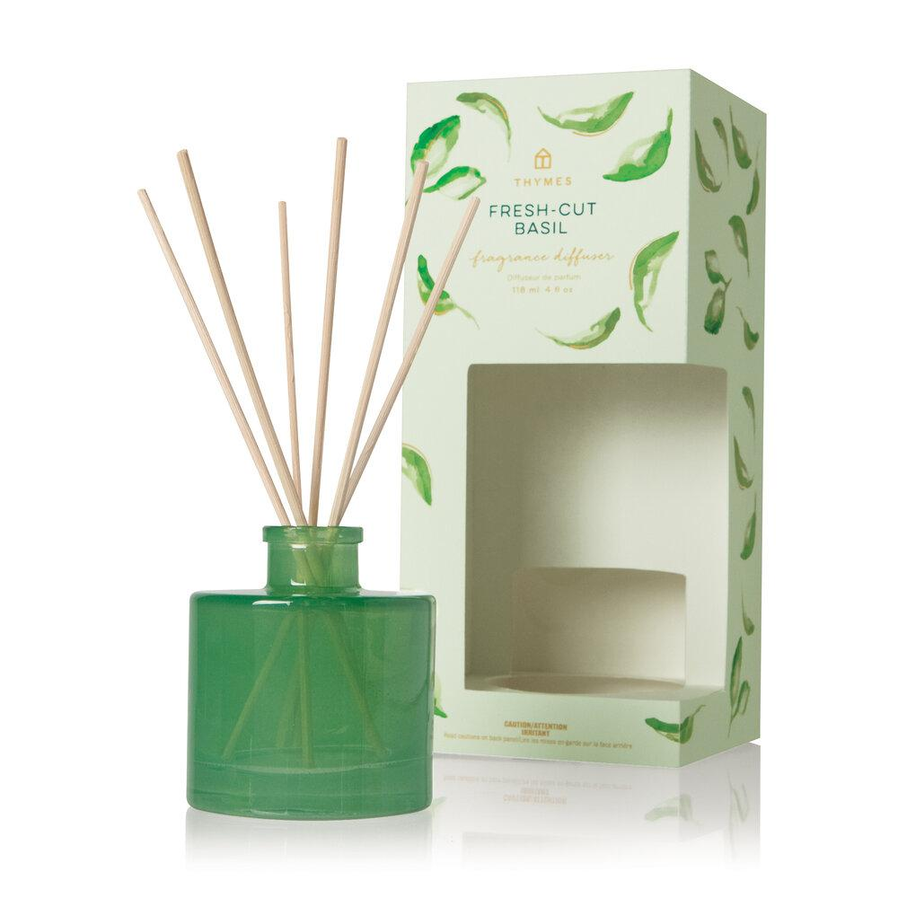 Thymes Fresh Cut Basil Petite Reed Diffuser - GRACEiousliving.com