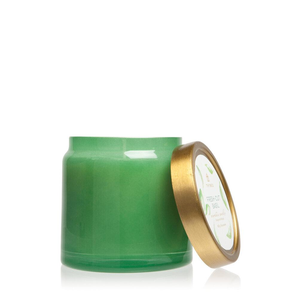Thymes Fresh Cut Basil Glass Jar Candle - GRACEiousliving.com