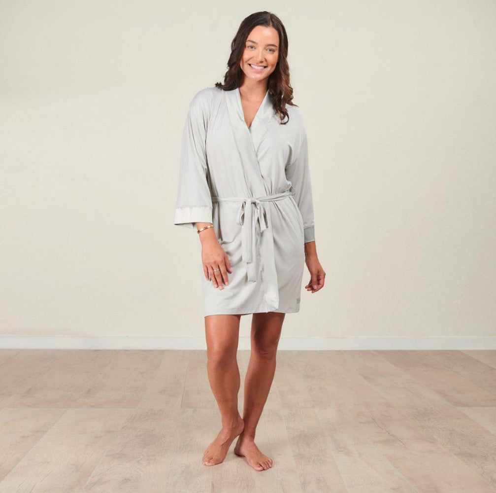 Faceplant Dreams® Faceplant Bamboo® Kimono Robe Fog - GRACEiousliving.com