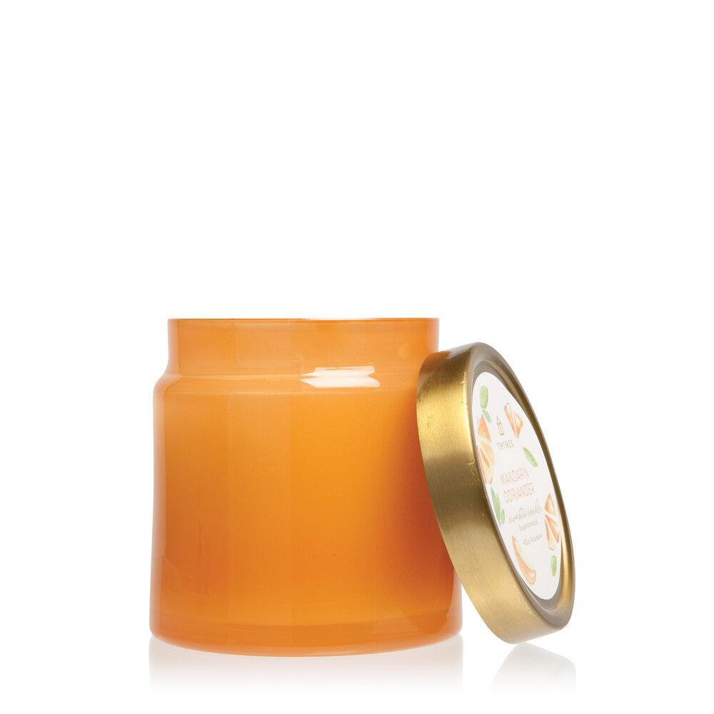 Thymes Mandarin Coriander Glass Jar Candle - GRACEiousliving.com